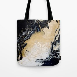 Black Gold: Acrylic Pour Painting Tote Bag