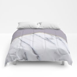 Smokey lilac - gold geometric marble Comforters