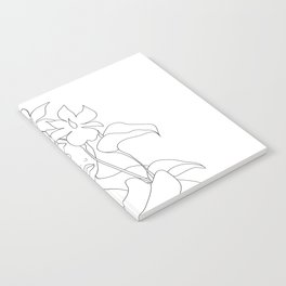 Minimal Line Art Woman with Flowers V Notebook