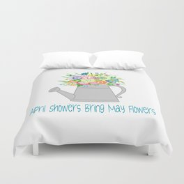 Watering Can with Whimsical Flowers Duvet Cover