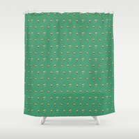 rugby Shower Curtains featuring RUGBY PATTERN by Nic Reich