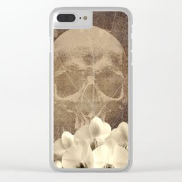 Skull Human Vintage Flowers Digital Collage Clear iPhone Case