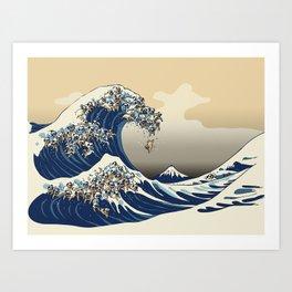 The Great Wave of Pugs Vanilla Sky Art Print