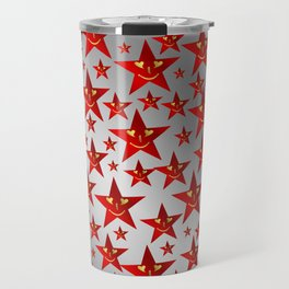 red stars and gold smilie in shiny silver Travel Mug
