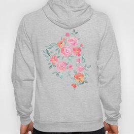 Amelia Floral in Pink and Peach Watercolor Hoody
