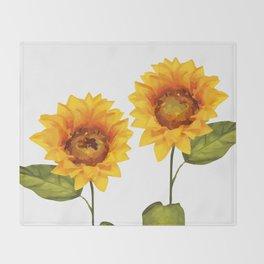 Sunflowers Illustration Throw Blanket