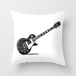 Black Guitar Throw Pillow