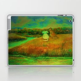 Dogs on hill side water view Laptop & iPad Skin