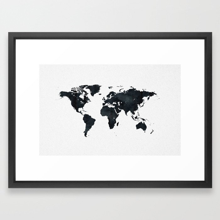 World map in black and white ink on paper framed art print by world map in black and white ink on paper framed art print by naturemagick society6 gumiabroncs Choice Image