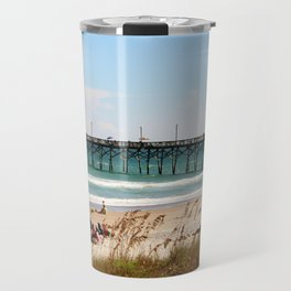 Beachgoers At Topsail Travel Mug