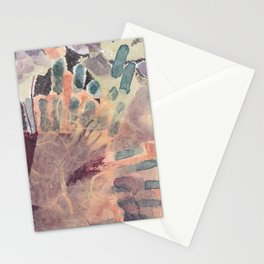 collage with watercolor, pen, and fabric Stationery Cards