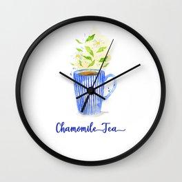 Chamomile Tea Mug in Watercolor Wall Clock