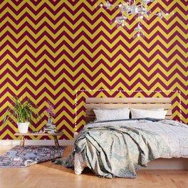 Sunnydale High Chevron (Maroon & Gold - #8A0034 x #FFDC32) Wallpaper
