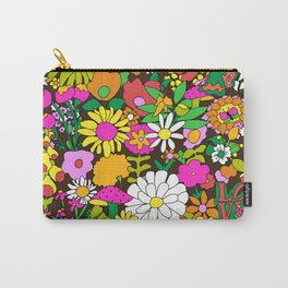 60's Groovy Garden in Chocolate Brown Carry-All Pouch