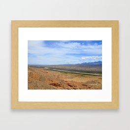 out west wildlife landscape photography orange and blue ground and sky nature Framed Art Print
