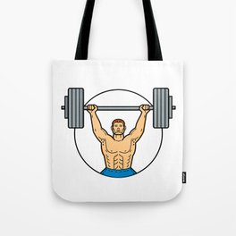 Weightlifter Lifting Barbell Mono Line Art Tote Bag