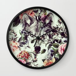 Floral Wolf Wall Clock