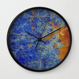 Boston Massachusetts 1893 colorful vintage old map. Orange and blue artwork Wall Clock