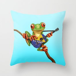 Tree Frog Playing Acoustic Guitar with Flag of Bosnia - Herzegovina Throw Pillow