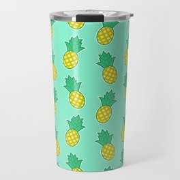 Pineapples (Aqua Background) Travel Mug