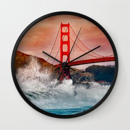 Waves over Red Bridge Wall Clock