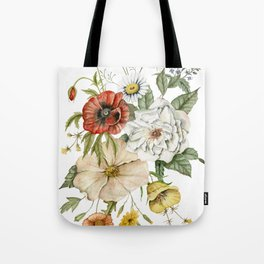 Wildflower Bouquet on White Tote Bag