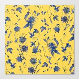 Elegant Blue Passion Flower on Mustard Yellow Canvas Print