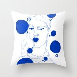 Blue Blind Contour Throw Pillow