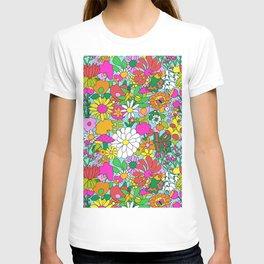 60's Groovy Garden in Blue T-shirt