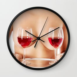 Exotic wine glasses covering breasts Wall Clock