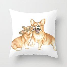 Corgi and Bess Throw Pillow