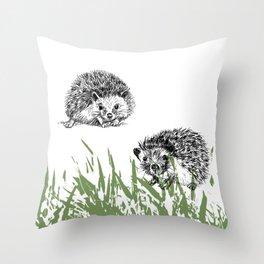 Hedgehogs print Throw Pillow