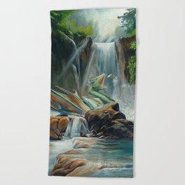 Fishing fantasy dragon Beach Towel