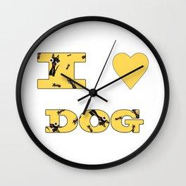 I LOVE DOG Wall Clock