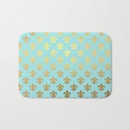 Royal gold ornaments on aqua turquoise background Bath Mat