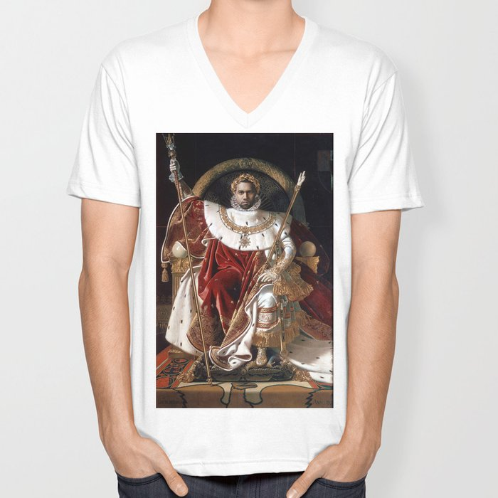 The Emperor Sits on His Throne Unisex V-Neck