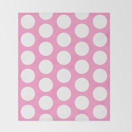 White circles on pink Throw Blanket