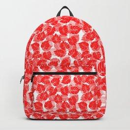 Big Monstera Tropical Leaf Hawaii Rain Forest Red on White Backpack