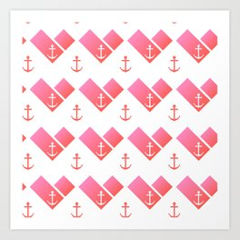 Florida Scarf Anchor Pattern Art Print