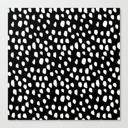 Handdrawn drops and dots on black - Mix & Match with Simplicty of life Canvas Print