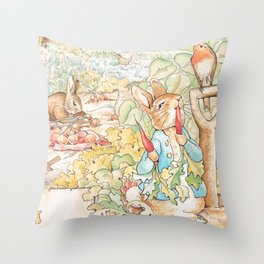The World of Beatrix Potter illustration Throw Pillow