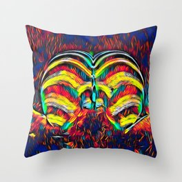 1349s-MAK Abstract Pop Color Erotica Explicit Psychedelic Yoni Buns Throw Pillow