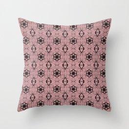 Bridal Rose Floral Geometric Pattern Throw Pillow