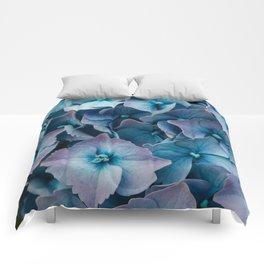 Blue Summer Hydrangeas Comforters