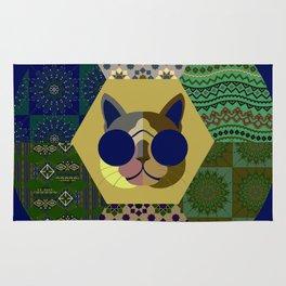 Cat in sunglasses - patchwork23 Rug