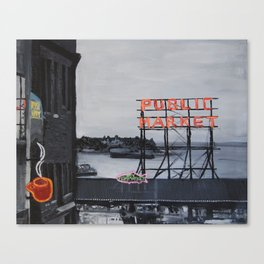 Pike Place Market - Black & White & Neon -Seattle Washginton Canvas Print