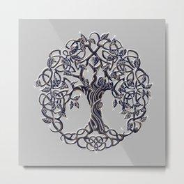 Tree of Life Silver Metal Print