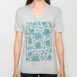 Modern vintage mint blue white elegant floral Unisex V-Neck