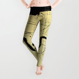 New Orleans Black and Gold Map Leggings