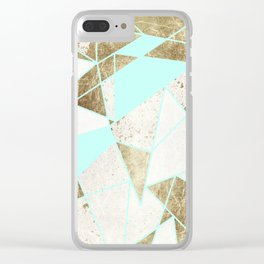 Modern Rustic Mint White and Faux Gold Geometric Clear iPhone Case